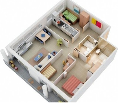contoh denah rumah sederhana 3 kamar tidur