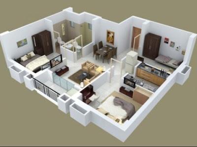 dekorasi Desain utama rumah Sederhana Minimalis 3 kamar tidur