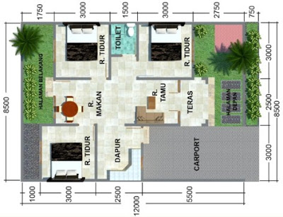 gambar denah rumah 3 kamar ukuran 6x12