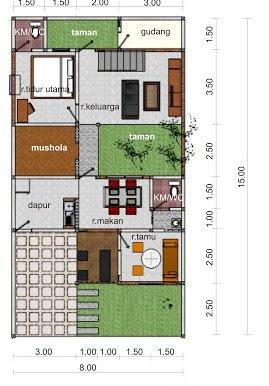 denah rumah minimalis 3 kamar dengan musola