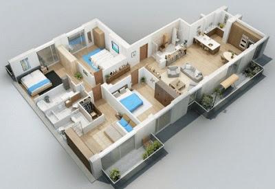 foto denah rumah minimalis 3 kamar tidur 3d