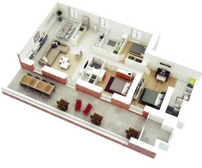 denah rumah sederhana 1 lantai 3 kamar
