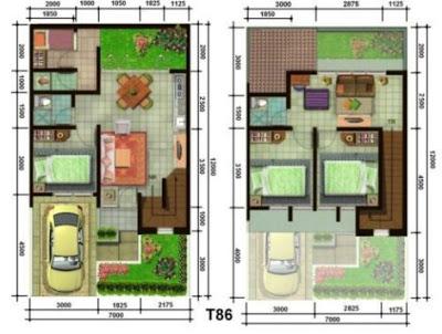 denah rumah sederhana 3 kamar tidur 2 lantai
