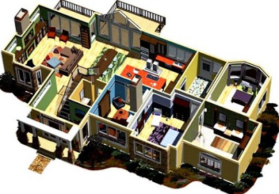 denah rumah sederhana 3 kamar tidur 3d