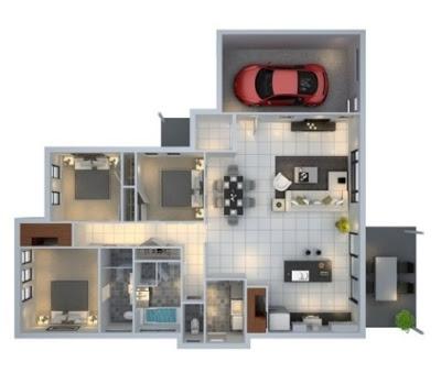 denah sederhana 3 kamar tidur 3 dimensi