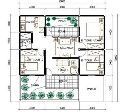 foto denah rumah 3 kamar ukuran 7x9