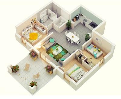 foto denah rumah sederhana 3 kamar tidur