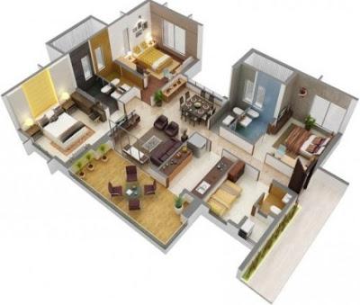 foto sketsa rumah sederhana 3 kamar tidur