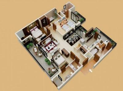 gambar denah rumah 3 kamar tidur 1 mushola
