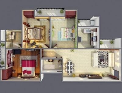 gambar denah rumah sederhana 3 kamar