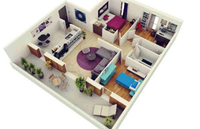 gambar denah rumah sederhana 3 kamar tidur
