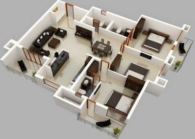 gambar rumah minimalis 3 kamar tidur 3 dimensi