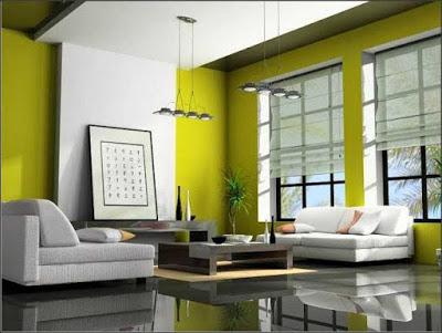 perpaduan warna cat ruang tamu minimalis
