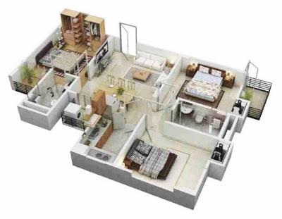 sketsa rumah sederhana 3 kamar tidur