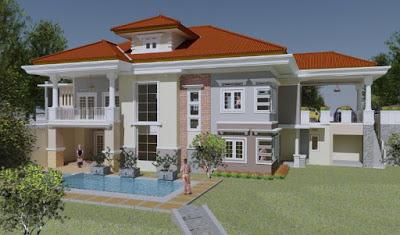 Foto rumah yang mewah dengan kolam renang