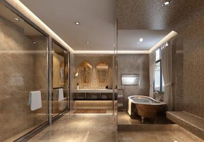 desain plafon kamar mandi mewah
