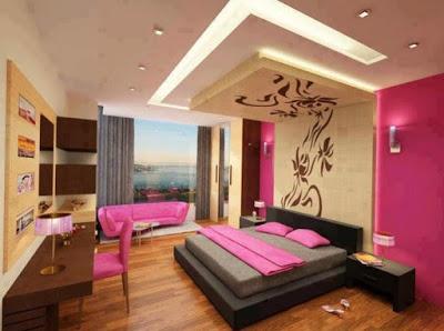 desain plafon kamar tidur pink untuk perempuan