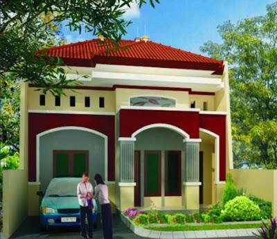 gambar Rumah Idaman Sederhana Di desa Keren warna merah
