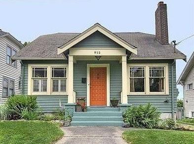 gambar rumah sederhana di pedesaan biru