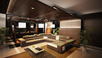 model plafon ruang keluarga dari kayu