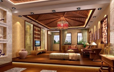 model plafon ruang keluarga modern