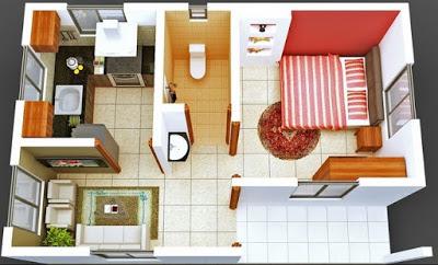 model rumah minimalis 1 lantai 1 kamar tidur
