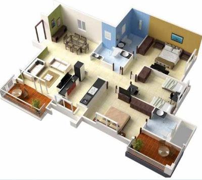 model rumah minimalis 1 lantai 2 kamar tidur