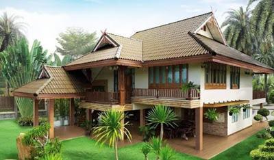 rumah 2 lantai sederhana di kampung