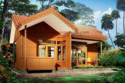 rumah kayu mewah sederhana