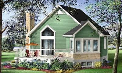 rumah kayu warna hijau