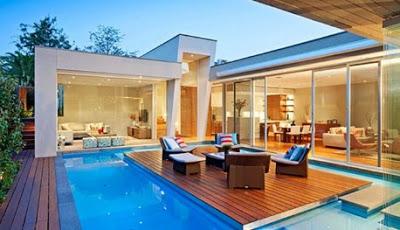 rumah mewah minimalis 1 lantai dilengkapi kolam renang