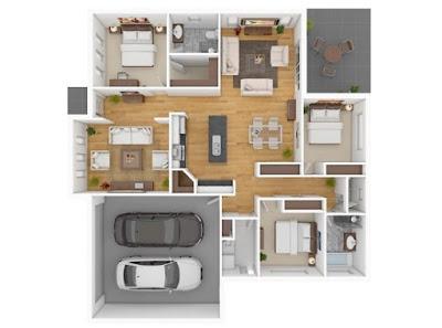 rumah minimalis 1 lantai 3 kamar tidur dilengkapi garasi
