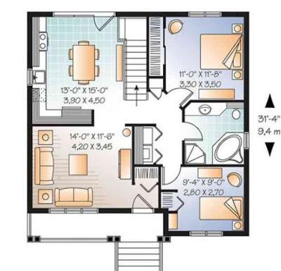 sketsa rumah minimalis type 36 1 lantai