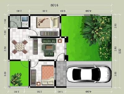 sketsa interior rumah minimalis type 36  dengan 2 kamar tidur