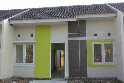 warna hijau rumah miniamalis type 36 60