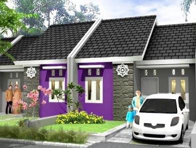 warna ungu rumah minimalis type 36 60